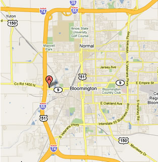 Map of highways surrounding the Interstate Center.